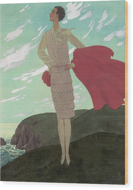 An Illustration Of A Young Woman For Vogue Wood Print