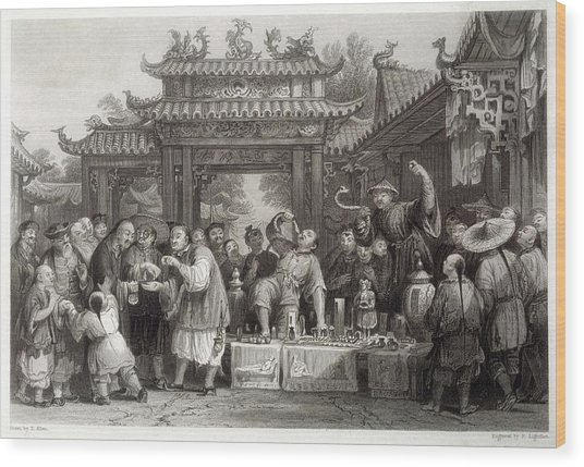 An Itinerant Chinese Doctor At Wood Print by Mary Evans Picture Library