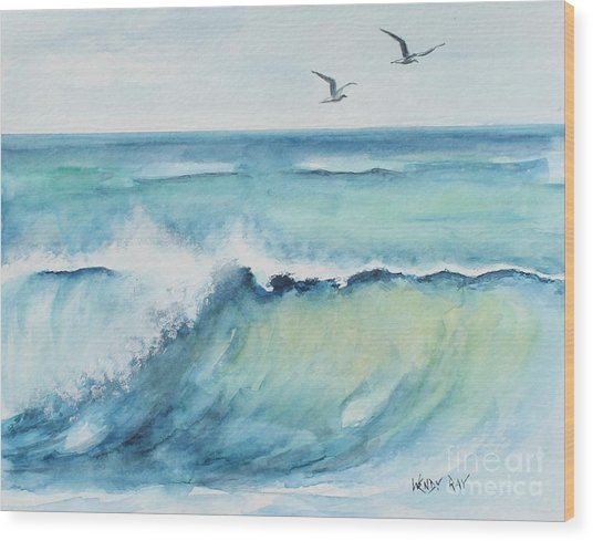 An Ocean's Wave Wood Print by Wendy Ray