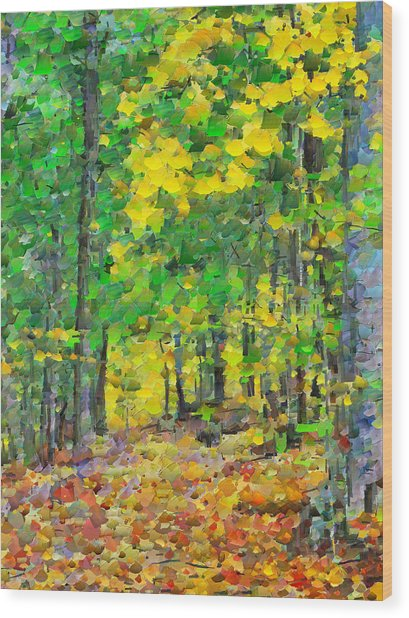 An October Walk In The Woods. 1 Wood Print