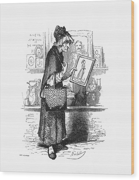 An Old Lady Buying A Picture Of A Young Wood Print