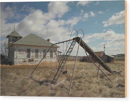 An Old School Near Miles City Montana Wood Print