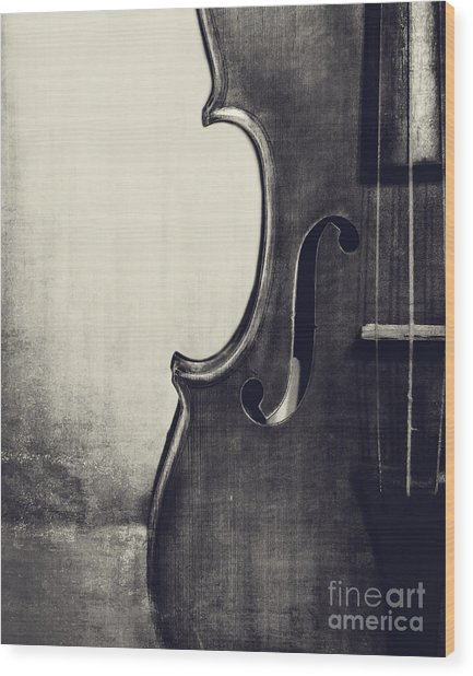 An Old Violin In Black And White Wood Print