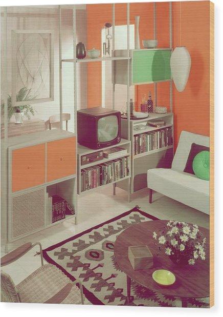 An Orange Living Room Wood Print
