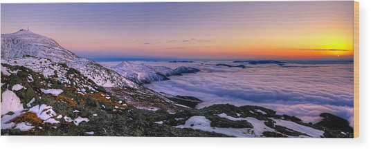 An Undercast Sunset Panorama Wood Print