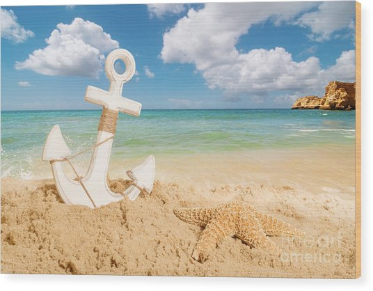 Anchor On The Beach Wood Print