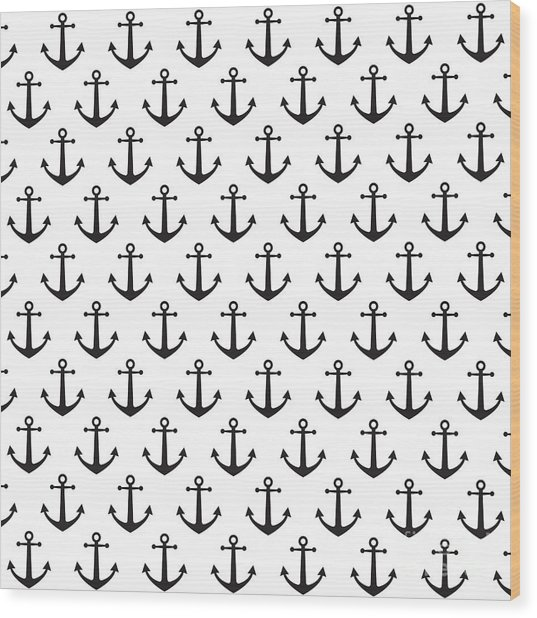 Anchor Pattern Background Wood Print