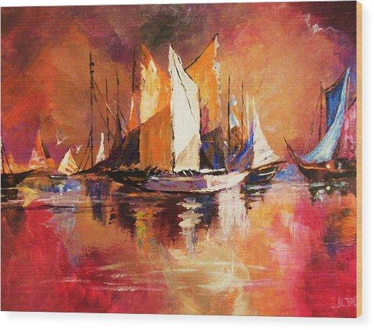 Anchored At Sunset Wood Print