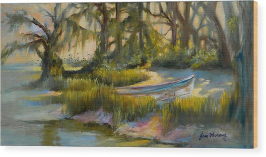 Anchored In The Marsh Wood Print by Jane Woodward