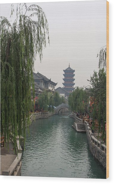 Ancient City Wood Print by Qing