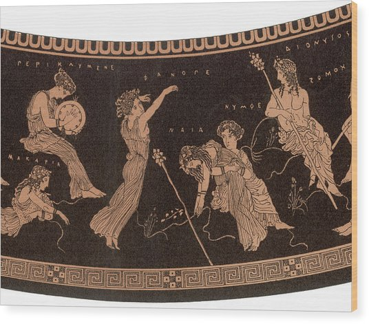 Ancient Greece A Female Dancer Wood Print by Mary Evans Picture Library
