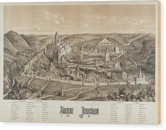 Ancient Jerusalem Wood Print by Library Of Congress/science Photo Library