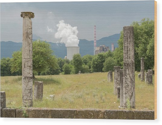 Ancient Megalopolis And Coal Powerplant. Wood Print by David Parker/science Photo Library