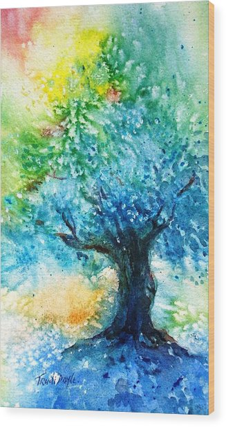 Ancient Olive Tree  Athenas Gift  Wood Print by Trudi Doyle