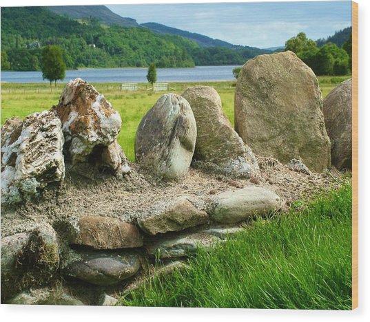Ancient Stone Wall At Loch Achray Wood Print
