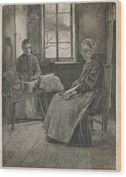 And Carding In A Canadian Home Wood Print by Mary Evans Picture Library