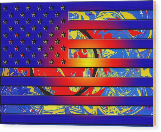 And The Flag Still Stands Wood Print