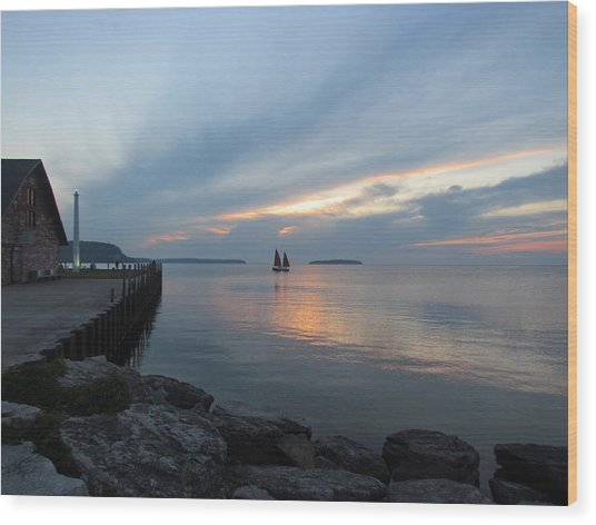 Anderson Dock Sunset Wood Print