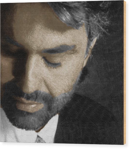 Andrea Bocelli And Square Wood Print