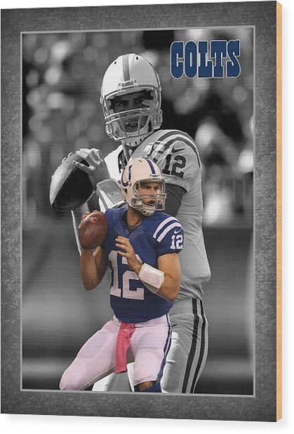 Andrew Luck Colts Wood Print
