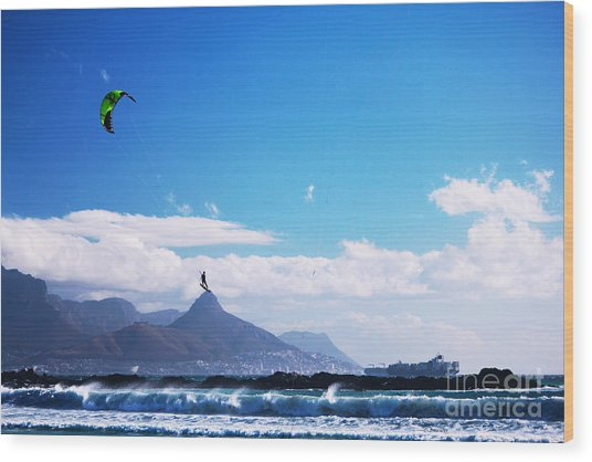 Andries - Redbull King Of The Air Cape Town  Wood Print by Charl Bruwer