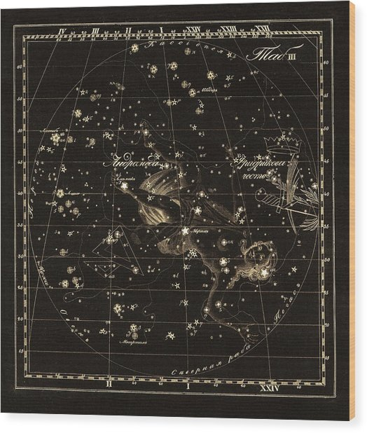 Andromeda Constellations, 1829 Wood Print by Science Photo Library
