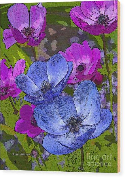 Anemones  Wood Print