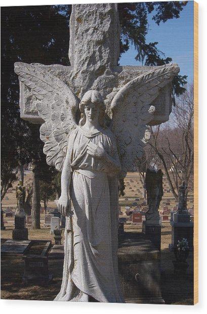 Angel And Cross Wood Print