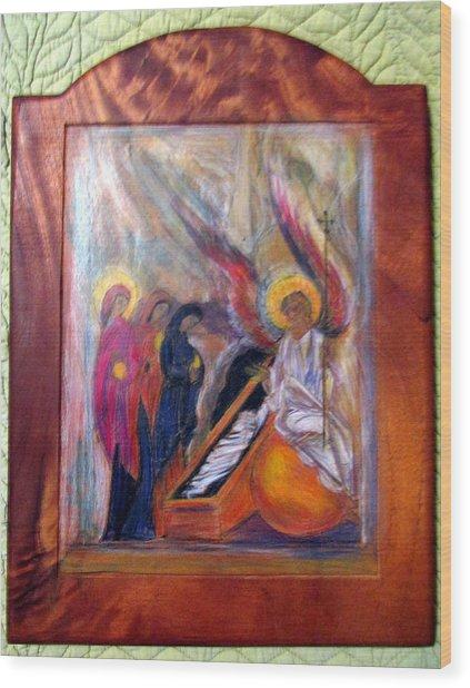 Angel At The Tomb Wood Print