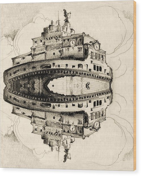Angel Castle Wood Print