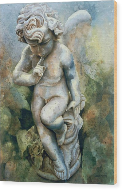 Angel-cherub Wood Print by Eve Riser Roberts