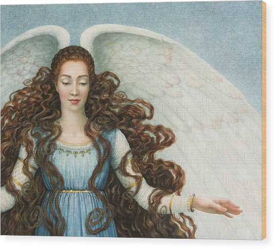 Angel In A Blue Dress Wood Print