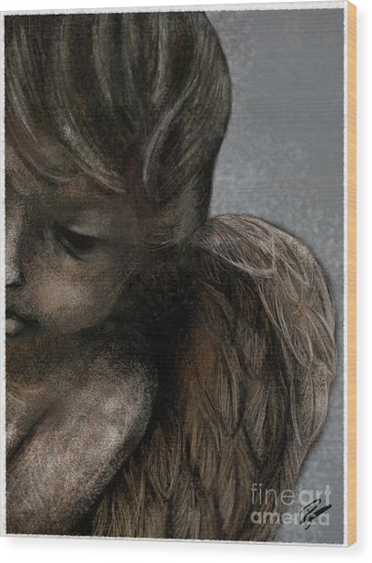Angel In Pencil Wood Print