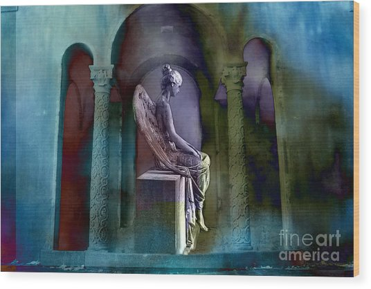 Angel Mourning Sadness - Haunting Fantasy Surreal Angel Art Teal Aqua Purple  Wood Print by Kathy Fornal
