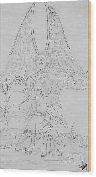 Angel Of God Struggle Wood Print