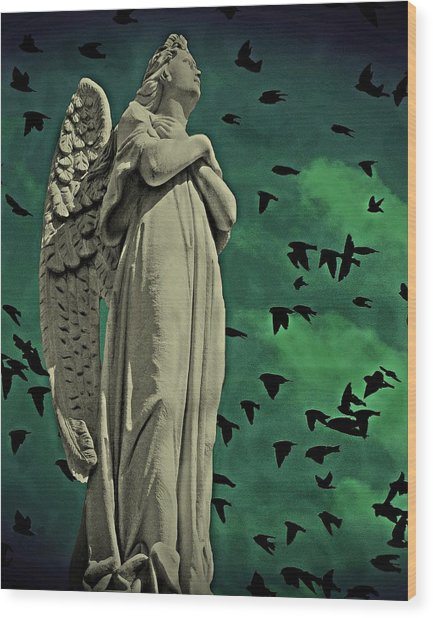 Angel Of Stone Wood Print
