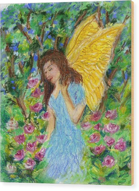 Angel Of The Garden Wood Print