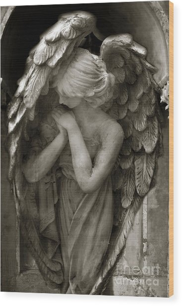 Angel Photography - Dreamy Spiritual Angel Art - Guardian Angel Art In Prayer  Wood Print