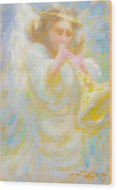 Angel Playing Lovesong Wood Print by John Murdoch