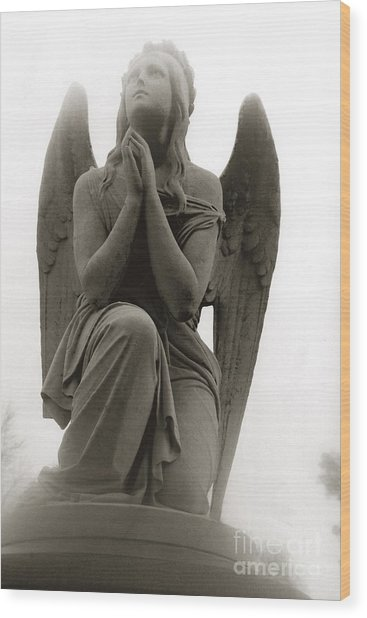 Angel Praying - Beautiful Dreamy Angel In Prayer - Praying Angel Looking To Heaven Wood Print by Kathy Fornal
