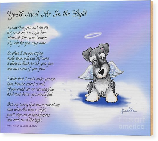 Angel Schnauzer With Poem Wood Print by Kim Niles