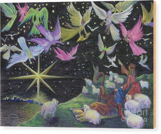 Angel Skies Wood Print