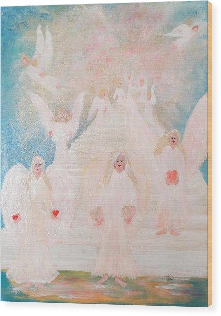 Angel Stairway Wood Print