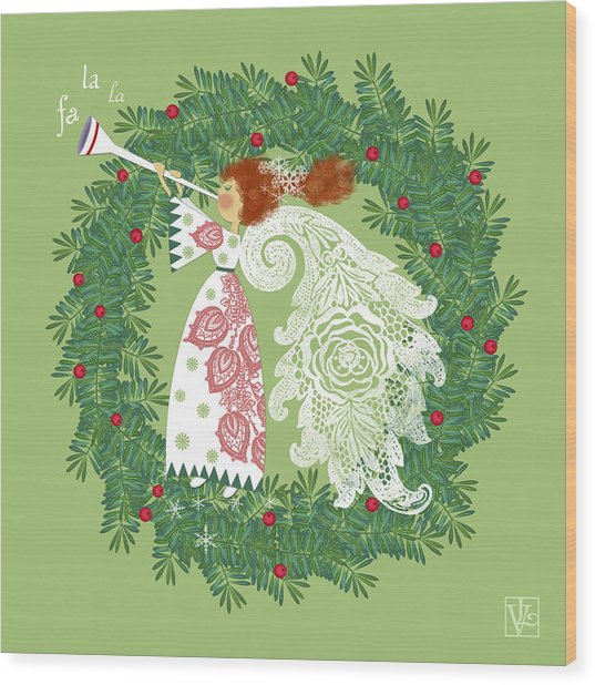 Angel With Christmas Wreath Wood Print