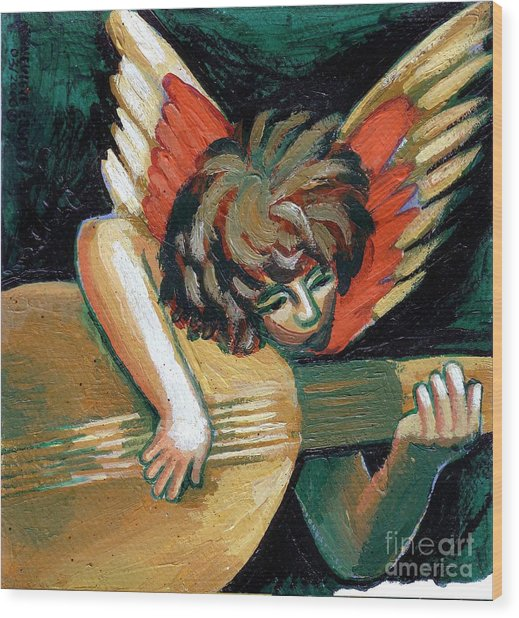 Angel With Lute Wood Print