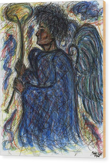 Angel With Horn Wood Print