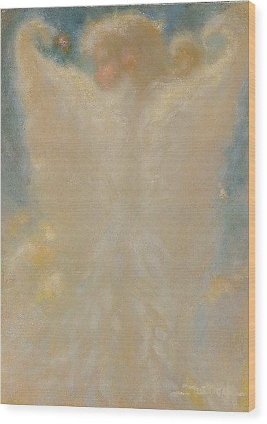 Angel With Wings From Behind Wood Print by John Murdoch