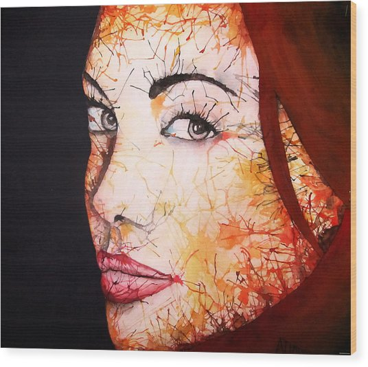 Angelina Wood Print by Atinderpal Singh