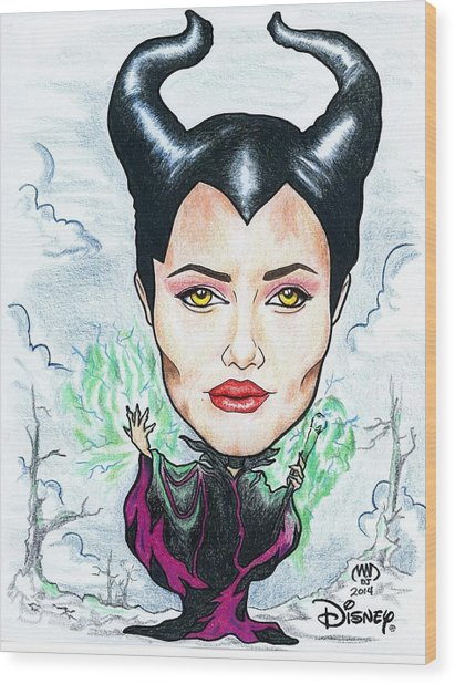 Angelina Joli - Maleficent Wood Print