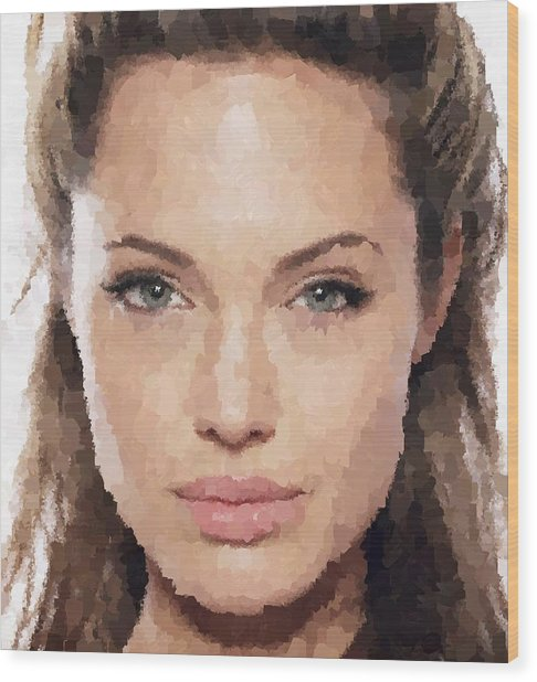 Angelina Jolie Portrait Wood Print